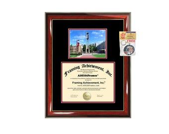 Temple University diploma frame campus photo certificate framing graduation document college degree Temple plaque graduate document