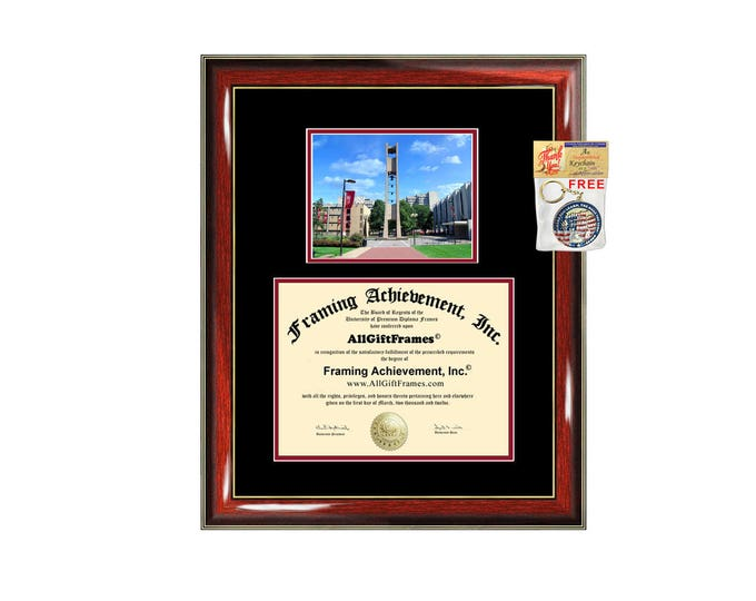 Temple University diploma frame campus photo certificate framing graduation document college degree Temple plaque graduate document
