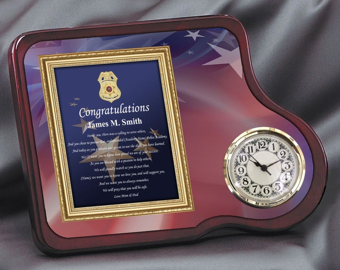Law Enforcement Gift Mahogany Poetry Clock Personalized Police Academy Sheriff School Graduate Plaque Congratulation Poem