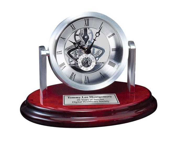 Engraved Desk Clock Da Vinci Gear Dial on Cherry Base with Silver Engraving Plate. Personalized Retirement Gift Anniversary Wedding Service