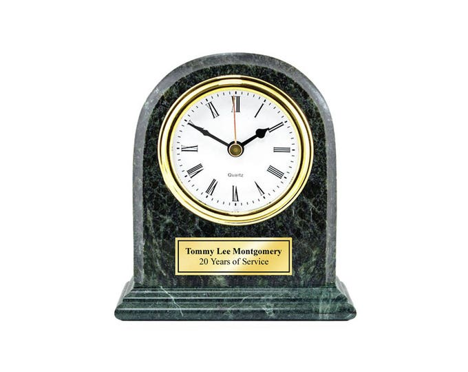 Marble Desk Clock Arch Shape Personalized with Gold Engraving Plate Executive Birthday Employee Service Recognition Award Anniversary Gift