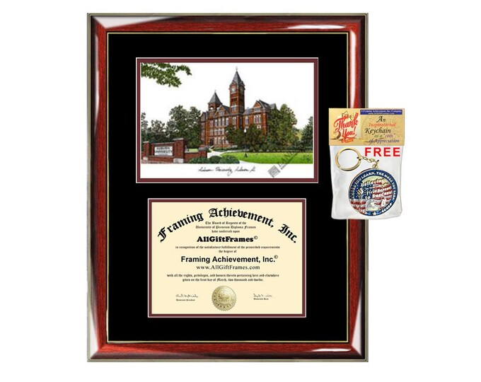 Auburn University diploma frame lithograph campus image certificate Auburn degree frames framing gift graduation lithograph college holder