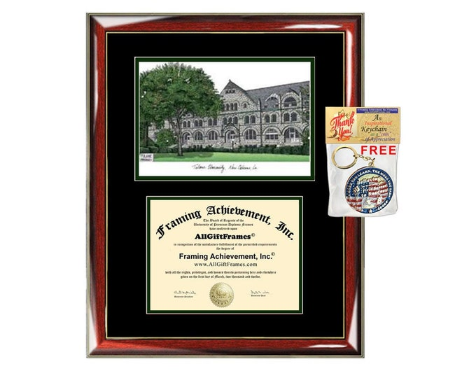 Tulane University diploma frame lithograph campus image Tulane certificate degree frames framing gift graduation plaque college holder grad