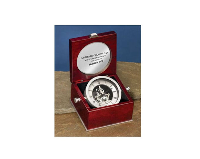 Engraved Da Vinci Swivel Desk Clock in Cherry Box Case with Silver Engraving Plate Birthday Wedding Retirement Engagement Retirement Gift