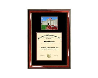 Virginia Military Institute diploma frame campus photo VMI certificate framing graduation document plaque degree gift graduate case bachelor