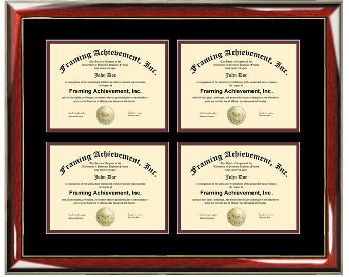 Four Certificate Frame Degree Framing Holds 4 Diploma Quadruple Documents Framing Professional Certification State Board College University