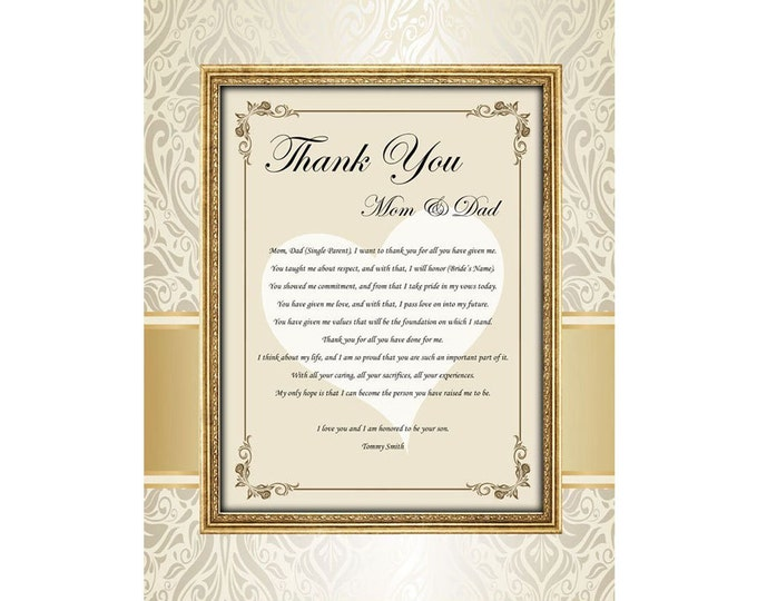 Thank You Present Poem Mom Dad From Bride Groom Unframed 11x14 Matted Design Print with Wedding Thank You Gift Poetry for Parent