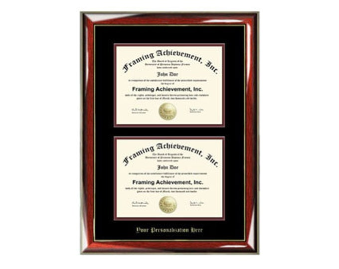Double Diploma Frame Dual Document Embossed Glossy Prestige Mahogany Gold Accents Top mat Black Inner matted Maroon Double University Frames