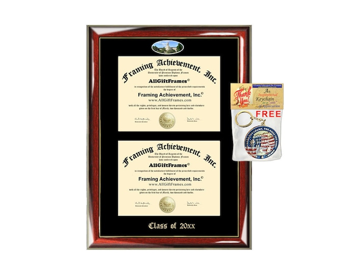 Wheaton College Illinois Double Diploma Display Frame Fisheye Photo Two School Major Certificate Emboss Diploma Frame College Holder Gift