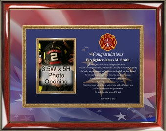 Fire Academy Congratulation Poetry Picture Frame Firefighter Photo Frame Fireman Plaque Item FIR-PGC3