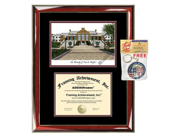 University of Texas Arlington diploma frames lithograph frame UT Arlington campus sketch framing graduation degree gift college plaque grad