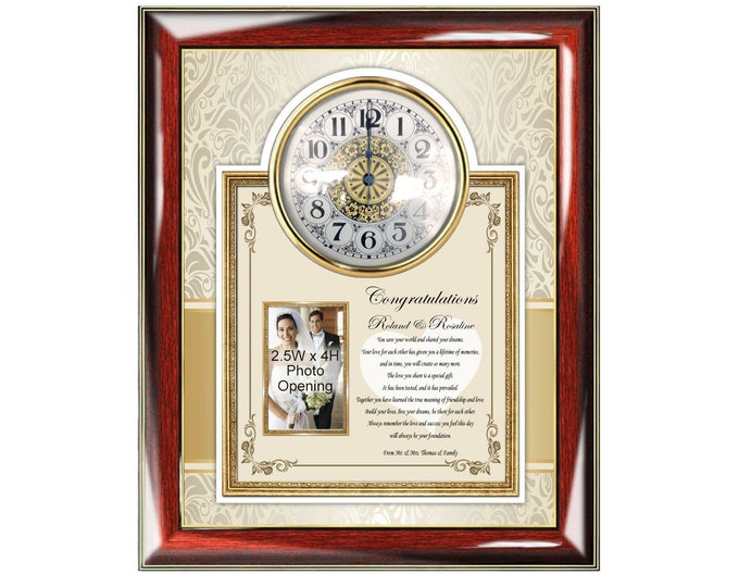 Wedding Picture Frame Gift Photo Plaque Clock Bride Groom Personalized Message Best Couple Wedding Present Unique Gift Idea Keepsake