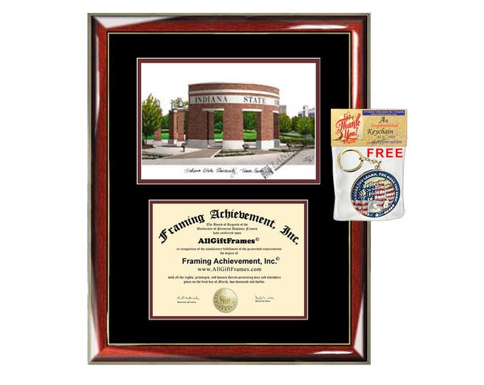 Indiana State University diploma frames lithograph ISU campus sketch frame certificate framing graduation degree gift college holder case
