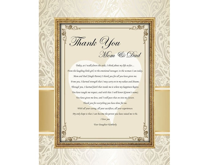Wedding Day Present from Daughter or Bride Parents Thank You Poem Unframed 11x14 Matted Print with Mom and Dad Appreciation Poetry Gift