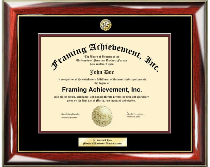 Graduation Diploma Frame University Certificate Framing College Major Logo - Top mat Black Inner Maroon Glossy Prestige Mahogany Gold Plaque