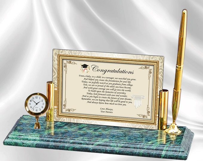 Graduation Poetry Mini Clock Marble Pen from Parents Engrave Congratulations Grad Poem Graduating College or High School Present