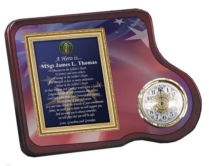 Army Clock Military Gift Personalized Retirement Promotion Service Recognition Award Mahogany Discharge Homecoming Armed Forces