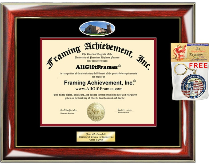 McMurry University diploma frame campus picture school certificate Personalized Bachelor Master Doctorate phd mba Engrave Holder Case gift