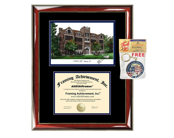 Aurora University diploma frames lithograph Aurora frame campus image sketch certificate framing graduation degree case holder graduate gift
