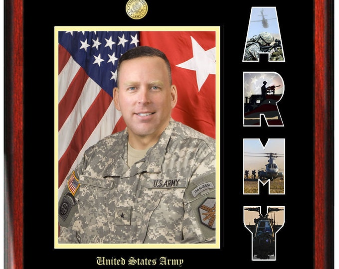 Army Picture Frame with US Army Collage Letter Military Wall Photo Plaque Soldier Promotion Retirement Serviceman Veteran Present Item MF1