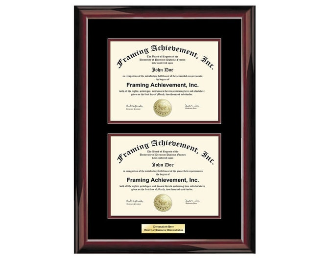 Double College Certificate Frame Double Diploma Graduation University Engraved Glossy Traditional Mahogany Top mat Black Inner matted Maroon