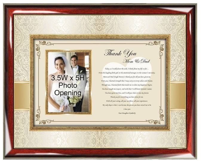 Parents Thank You Wedding Gift Picture Frame Personalized Photo Frame Bride Daughter Present to Mother and Father or Inlaws