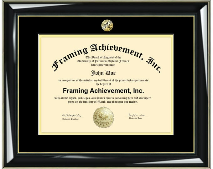 Diploma Frames Graduation Gifts University High School Graduates - College Major Logos Glossy Black Gold Accents Top mat Black Inner Gold