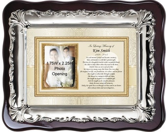 Personalized Picture Frame Memorial Sympathy Photo Plaque. Remembrance Bereavement Condolences Poem for Loss of Loved One Photo Frame