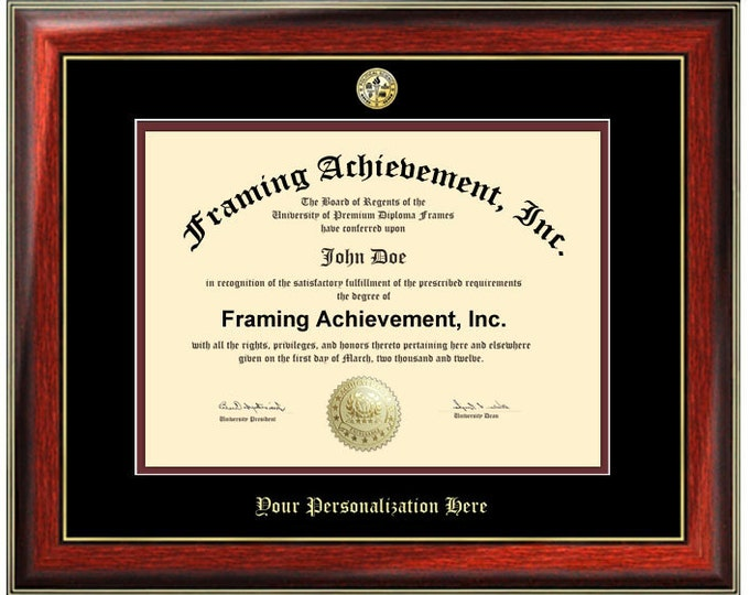 Embossed Diploma Frame College Major Logo Seal University Graduation Degree Frames Top mat Black Inner mat Maroon Satin Mahogany Gold Accent
