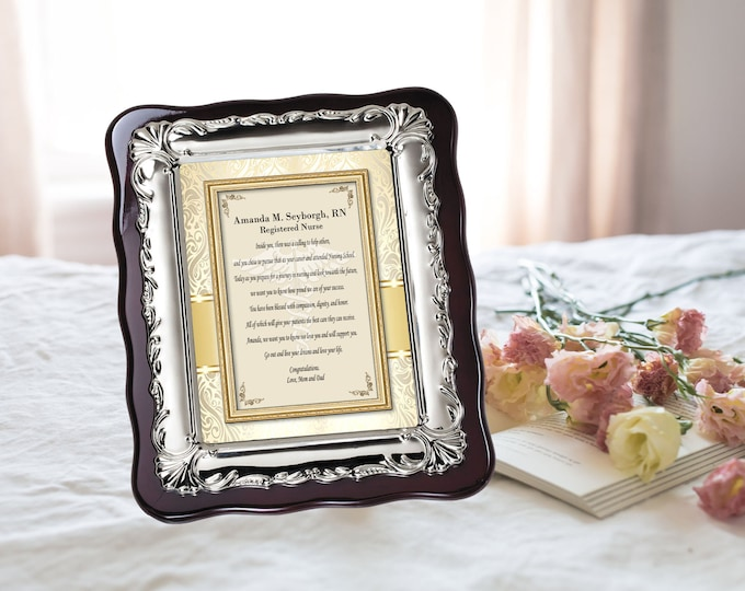 Graduation Nursing College University School Gift Silver Desk Frame Plaque Graduate Best RN BSN DNP Registered Nurse Bachelor Present Her