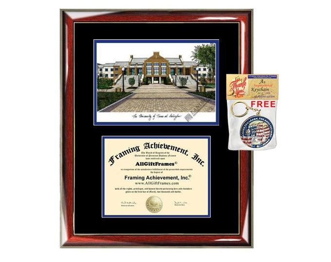 University of Texas Arlington diploma frames lithograph frame UT Arlington campus sketch framing graduation degree gift college plaque grad