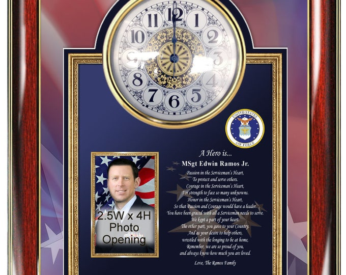 USAF Clock Picture Frame Us Air Force Poetry Personalized Photo Present Military Hero Poem Soldier