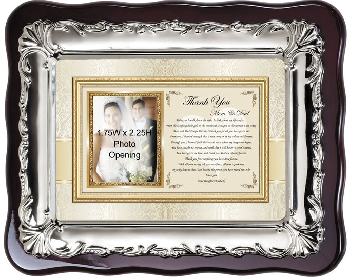 Wedding thank you gift personalized picture frame for parents from bride. Wedding photo frame poem from daughter to mother and father