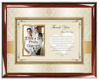 Wedding Thank You Parents Poetry Picture Frame From Groom Son or Bride Daughter to Mother Father Mom Dad Wedding Photo Frame
