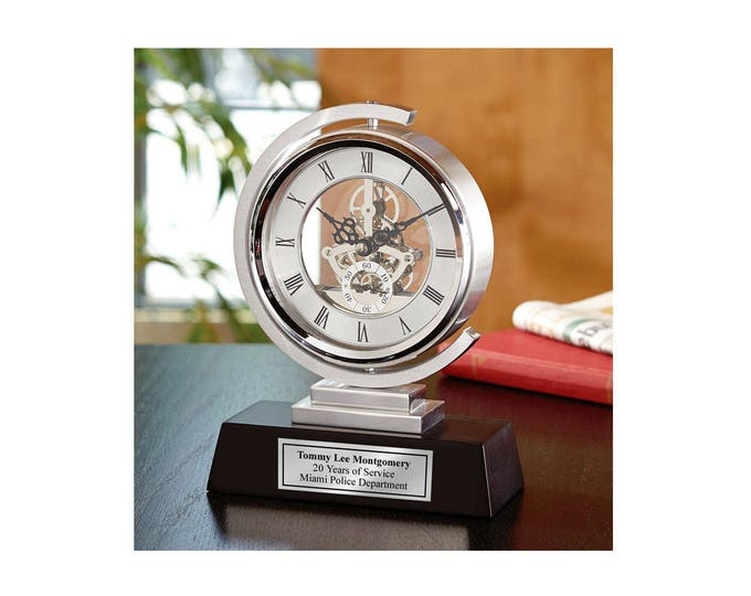 Gear Da Vinci Metal Silver Desk Clock Which Rotates 360 Degrees with Silver Engraving Plate. Unique Engineering Anniversary Retirement Gift