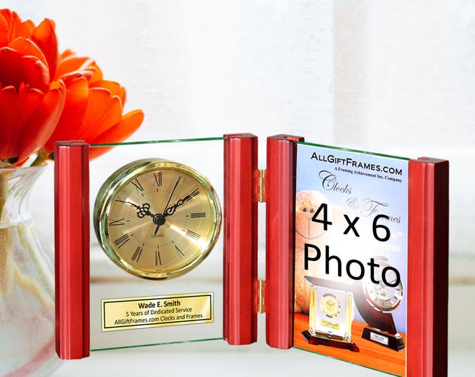 Engraved Cherry Glass Folding Picture Frame Desk Gold Clock Fits 4x6 Photo Retirement Gift Anniversary Wedding Graduation Hinge Photograph