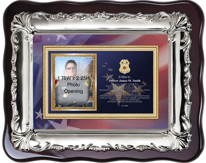 Sheriff and Police officer picture frame. Personalized law enforcement gift for policeman sheriff retirement birthday