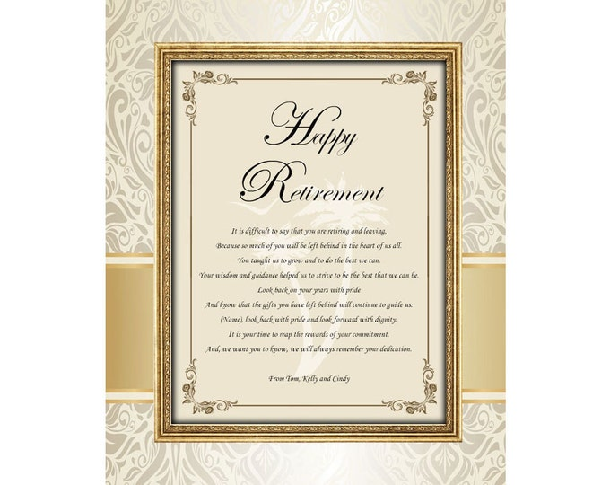 Retirement Poem Colleague Boss Coworker Good Luck Friend Personalized Retirement Poetry Gift 11x14 Unframed Printed Mat