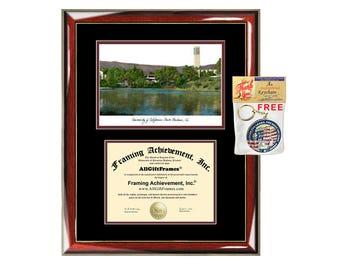UCSB diploma frames campus sketch University of California Santa Barbara lithograph frame certificate framing graduation degree gift college