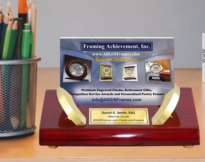 Personalized Engraved Table Top Desktop Business Card Holder Stand Gold Plate Cherry Wood Display Case Desk Promotion Gift Award Service