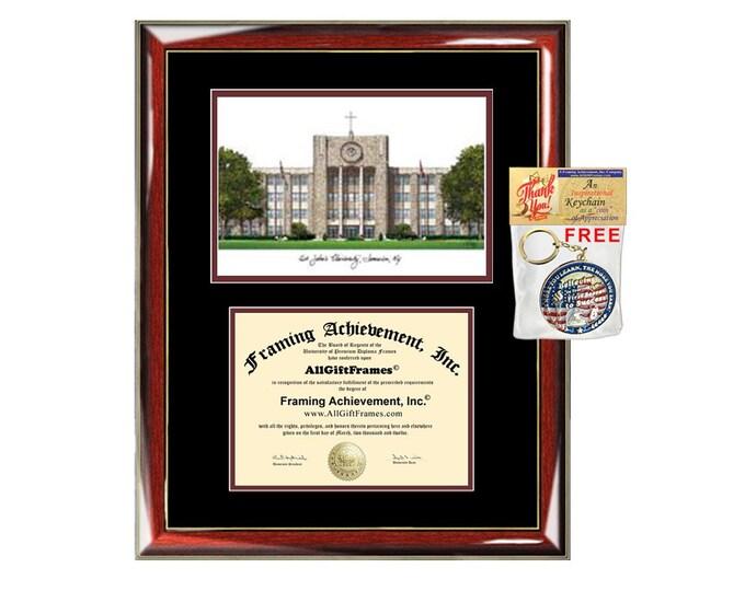 St. John's University diploma frames lithograph St. Johns degree frame campus image certificate framing graduation gift college plaque SJU