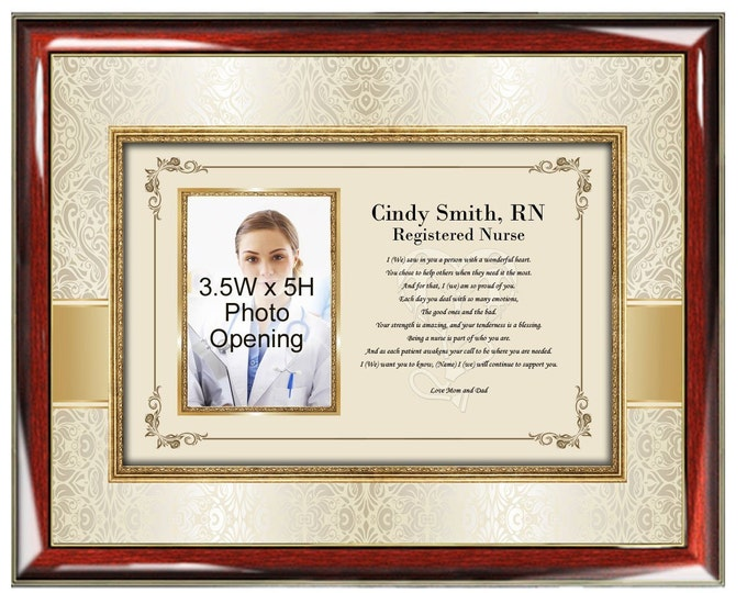 Nurse Picture Frame Registered Nurse BSN Practioner Gift Present Congratulation Photo Plaque Poem Nursing School Graduation