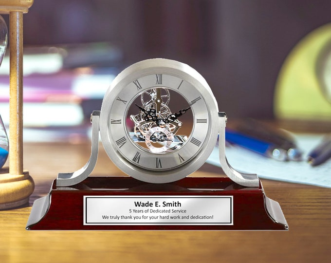 Engraved Desk Name Plate Gear Clock Pesonalized Graduation Employee Service Award Gift Engraving Name Tag Engineer Silver Engraved Present
