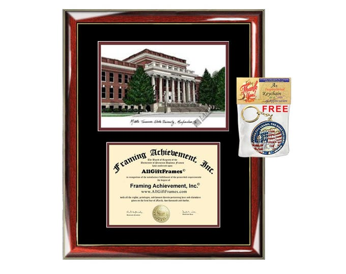 MTSU diploma frames Middle Tennessee State University lithograph frame campus sketch certificate framing graduation degree gift college