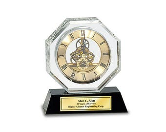 Engraved Crystal Clock Octagon Da Vinci Dial with Black Base and Gold Engraving Plate. Pesonalized retirement birthday anniversary gift