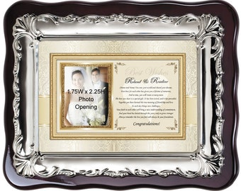 Personalized Wedding Picture Frame Photo Plaque For Bride Daughter and Groom Son. Wedding Gift Photo Plaque Congratulation Poem Engagement