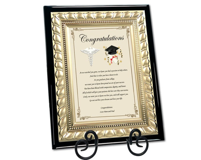 Optometry Dental Pharmacy Medical School Graduation Poem Present Wood Poem Plaque with Gold Metal Designer Border and Iron Easel