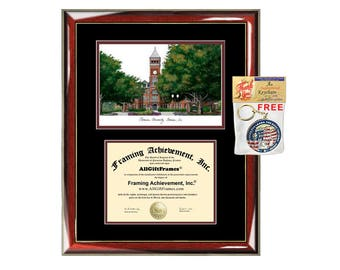 Clemson University Lithograph Diploma Frames College Clemson Graduation Degree Framing Certificate Plaque Sketch Campus Image Document Frame