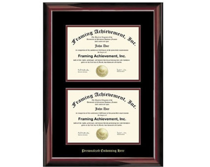 Double University Diploma Frame Double Degree Frames Embossed Two Document Glossy Mahogany Top mat Black Inner matted Maroon College Framing
