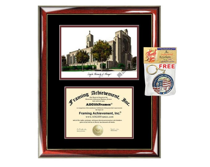 Loyola University of Chicago diploma frames lithograph frame campus image LUC sketch framing graduation degree gift college certificate grad
